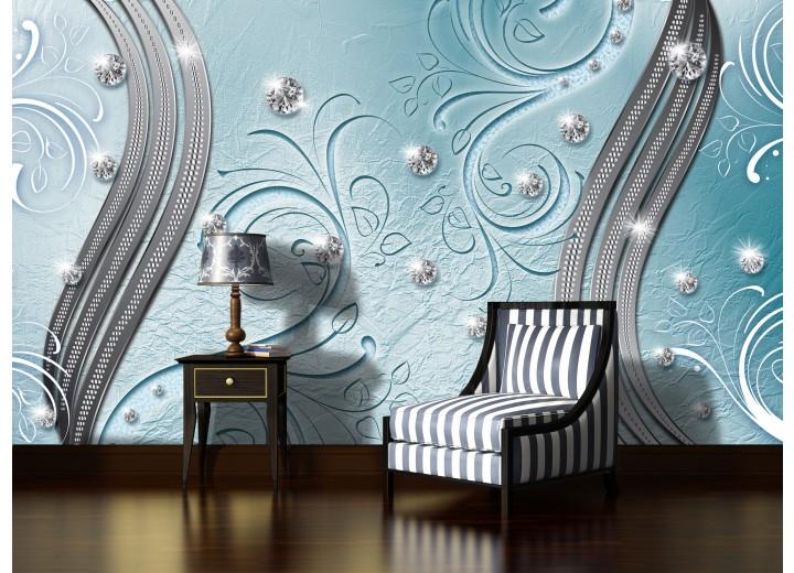 Fotobehang Vlies | Abstract | Blauw, Zilver | 368x254cm (bxh)