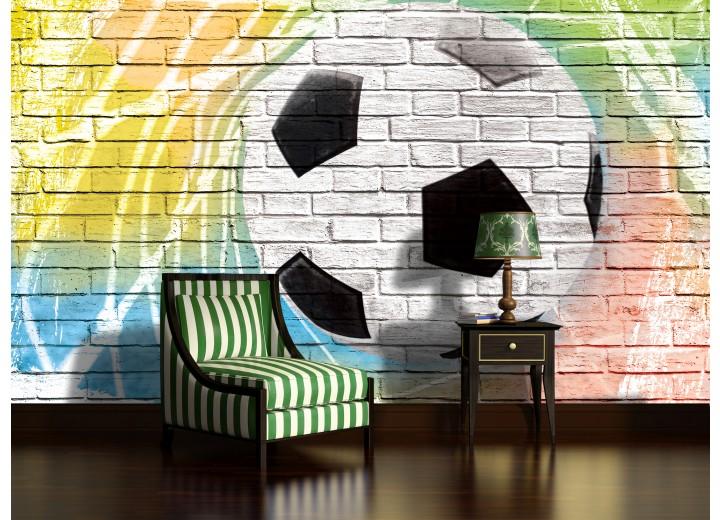 Fotobehang Voetbal, Muur | Geel | 312x219cm