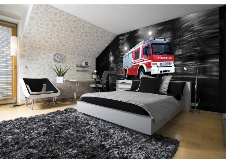 Fotobehang Vlies | Brandweerauto | Zwart, Rood | 368x254cm (bxh)