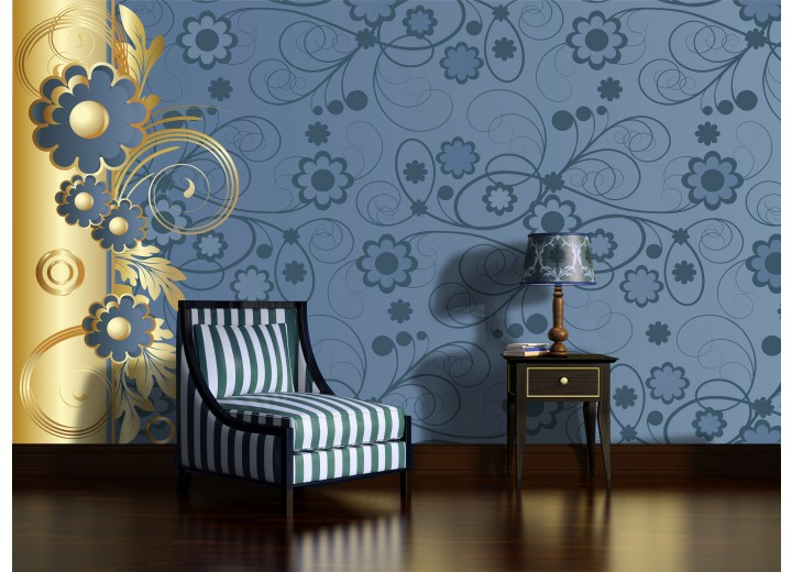 Fotobehang Bloemen | Goud, Blauw | 152,5x104cm