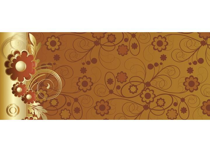 Fotobehang Bloemen | Goud, Bruin | 250x104cm