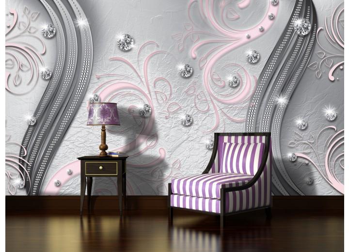 Fotobehang Vlies | Modern | Zilver, Roze | 368x254cm (bxh)