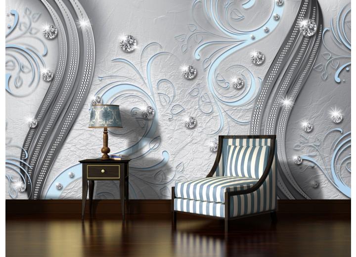 Fotobehang Vlies | Modern | Zilver, Blauw | 368x254cm (bxh)