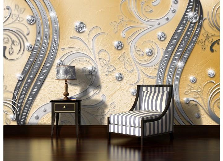 Fotobehang Modern | Zilver, Geel | 208x146cm