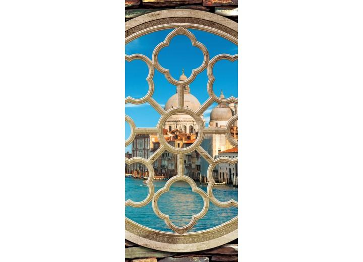 Deursticker Muursticker Venetië | Blauw | 91x211cm