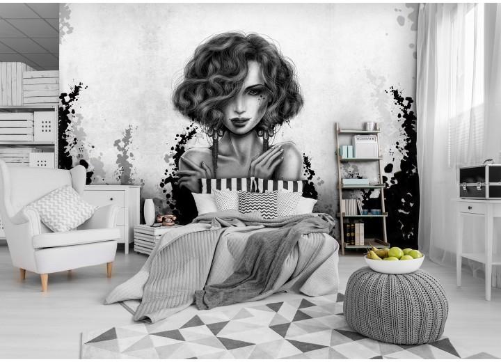 Fotobehang Vlies | Vrouw, Modern | Zwart, Grijs | 368x254cm (bxh)