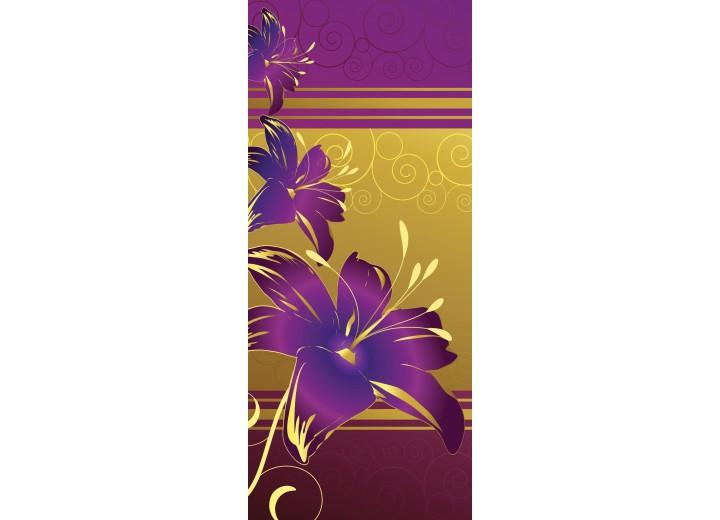 Deursticker Muursticker Bloemen | Paars, Geel | 91x211cm