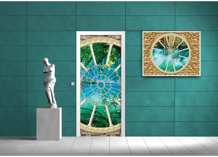 Deursticker Muursticker Natuur | Blauw, Groen | 91x211cm