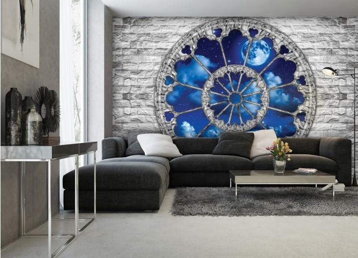 Fotobehang Muur, Nacht | Blauw | 104x70,5cm