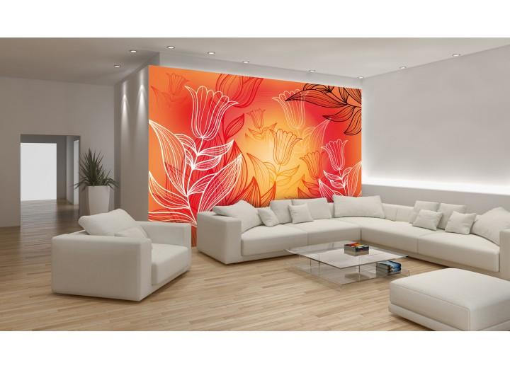 Fotobehang Papier Bloemen | Rood, Oranje | 368x254cm