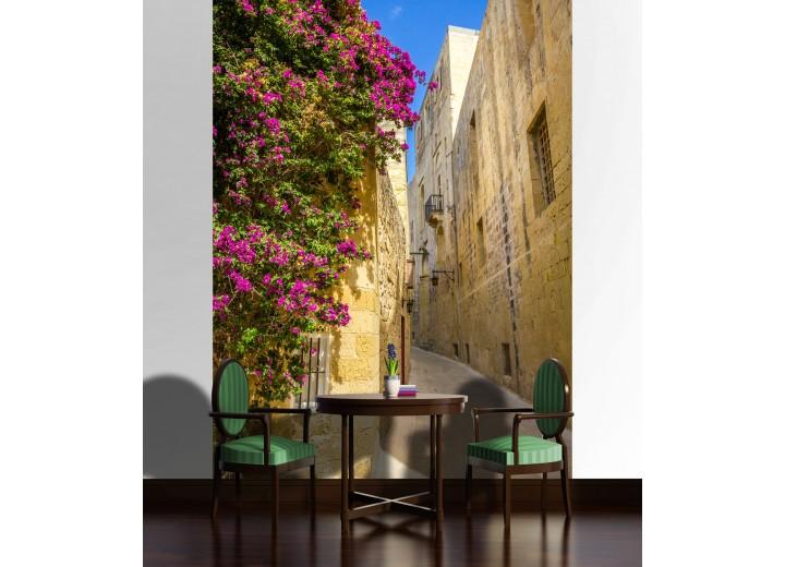 Fotobehang Papier Straat, Bloemen | Geel | 184x254cm