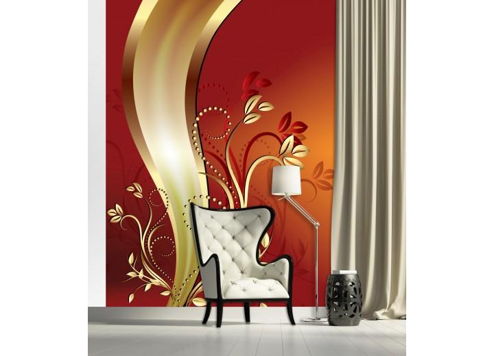 Fotobehang Papier Bloemen | Oranje, Goud | 184x254cm