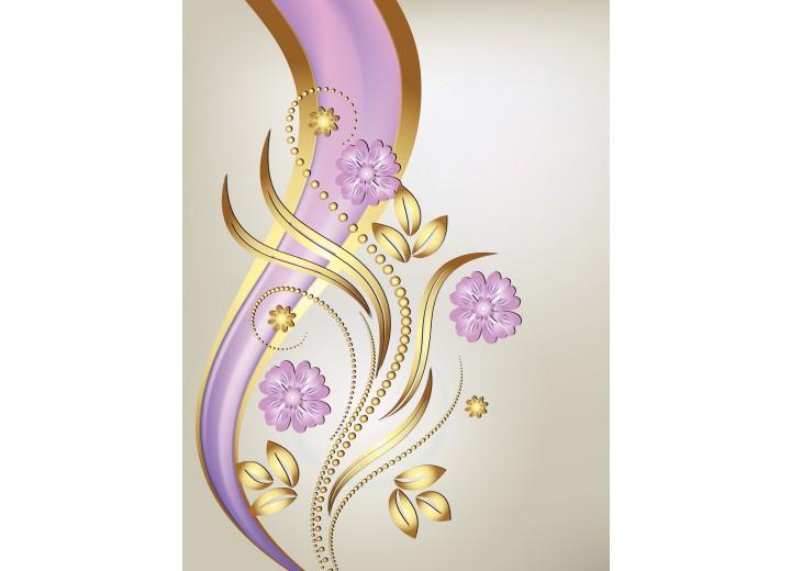 Fotobehang Papier Bloemen | Goud, Paars | 184x254cm