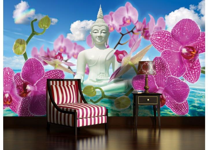 Fotobehang Boeddha, Orchidee | Blauw | 104x70,5cm