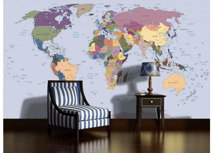 Fotobehang Papier Wereldkaart | Blauw | 254x184cm