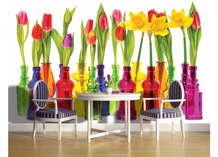 Fotobehang Bloemen, Tulpen | Rood | 104x70,5cm