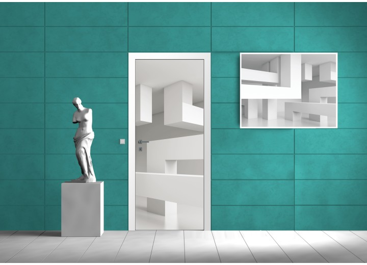 Deursticker Muursticker 3D, Design | Wit | 91x211cm