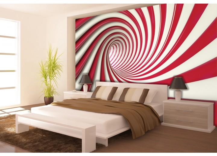 Fotobehang Vlies | Design, Slaapkamer | Rood, Wit | 368x254cm (bxh)