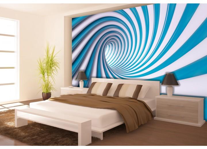 Fotobehang Papier Design | Blauw, Wit | 254x184cm