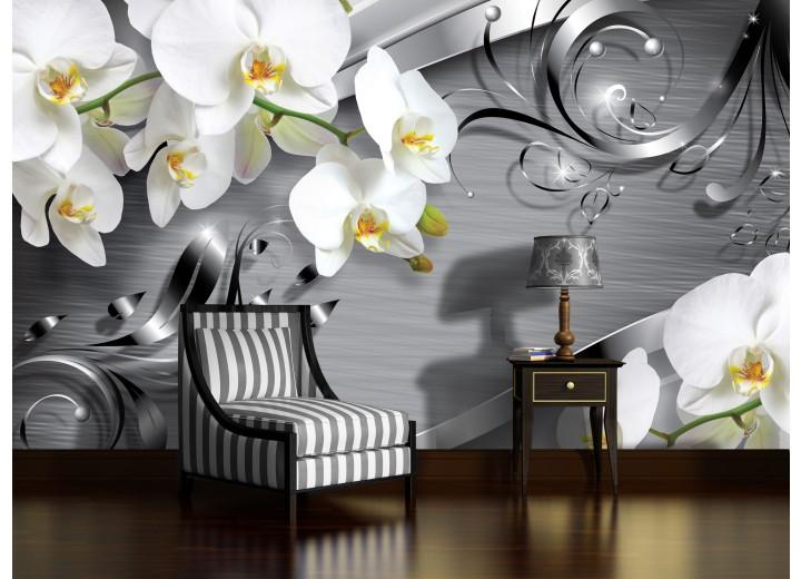 Fotobehang Vlies | Bloemen, Orchidee | Zilver | 368x254cm (bxh)