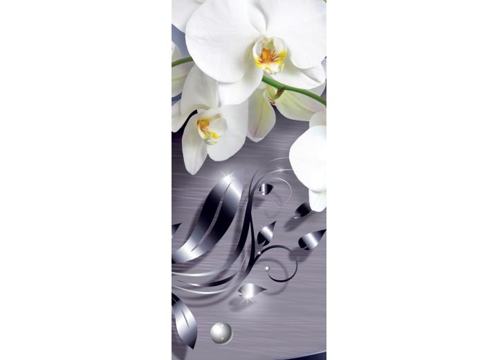 Deursticker Muursticker Orchidee, Bloemen | Zilver | 91x211cm