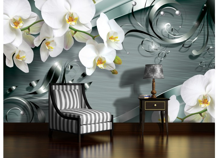 Fotobehang Vlies | Bloemen, Orchidee | Wit | 368x254cm (bxh)