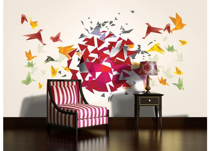 Fotobehang Vlies | Abstract, Origami | Geel | 368x254cm (bxh)