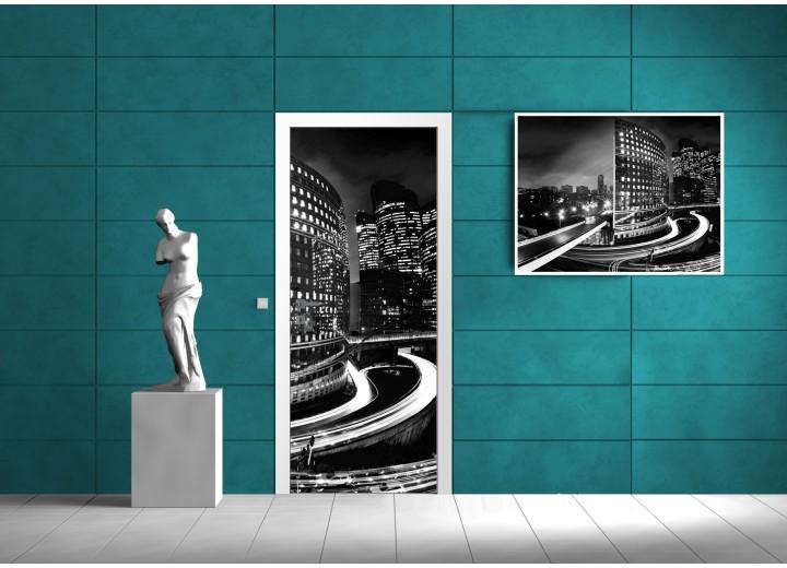 Deursticker Muursticker Steden | Zwart, Wit | 91x211cm