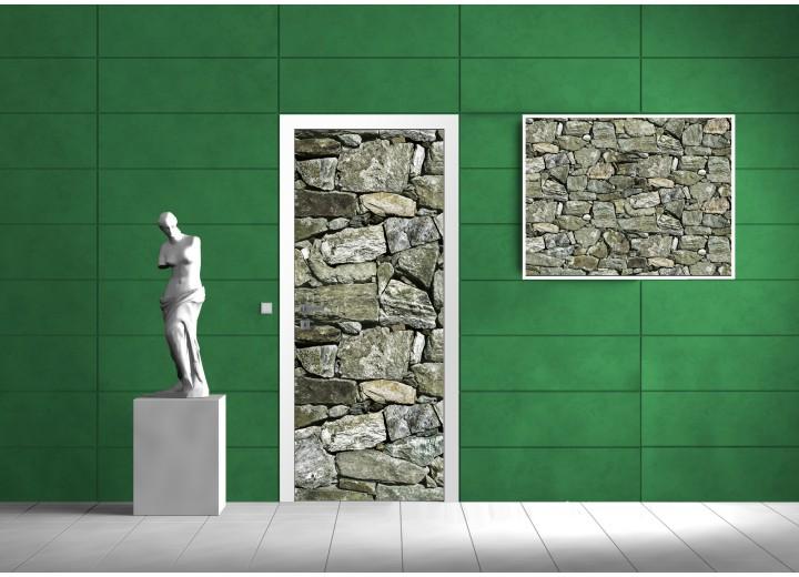 Fotobehang Stenen | Grijs, Groen | 91x211cm