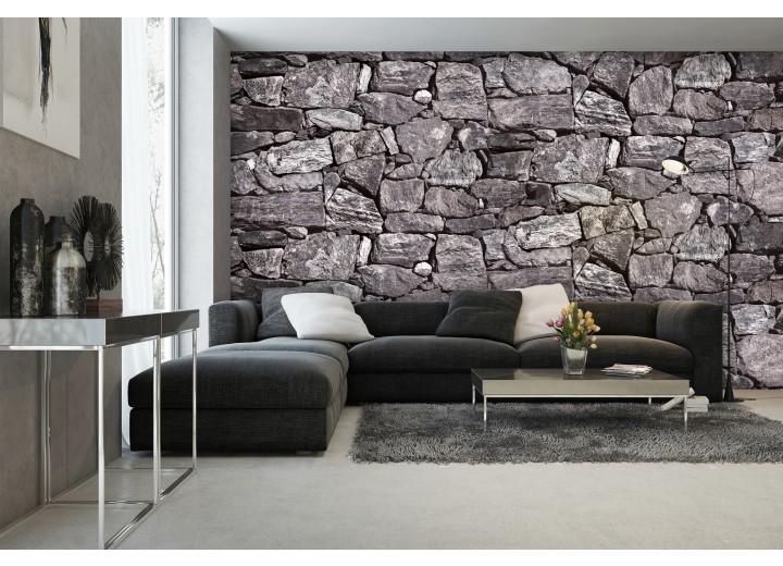 Fotobehang Stenen, Muur | Grijs | 152,5x104cm