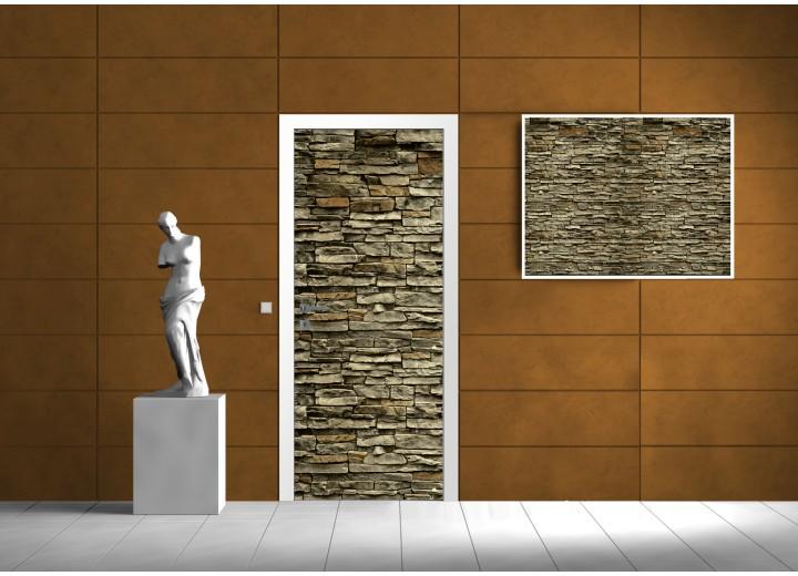 Deursticker Muursticker Stenen, Muur | Groen | 91x211cm