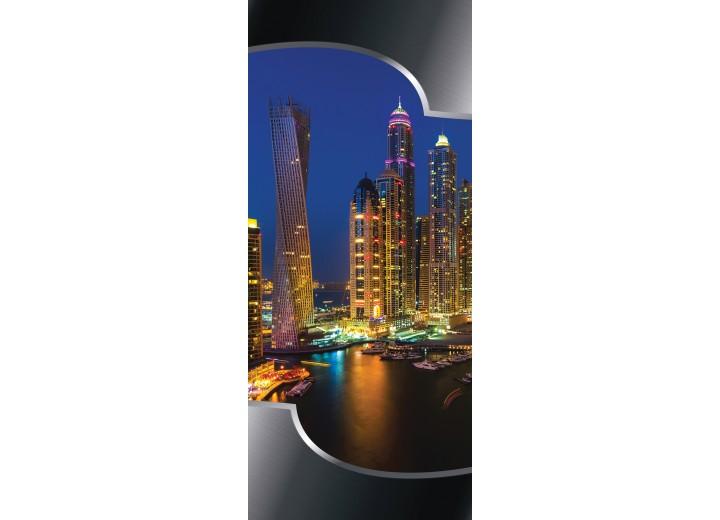 Deursticker Muursticker Skyline, Steden | Blauw | 91x211cm