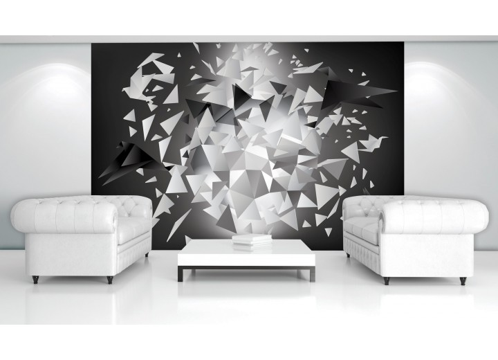 Fotobehang 3D, Origami | Grijs | 208x146cm