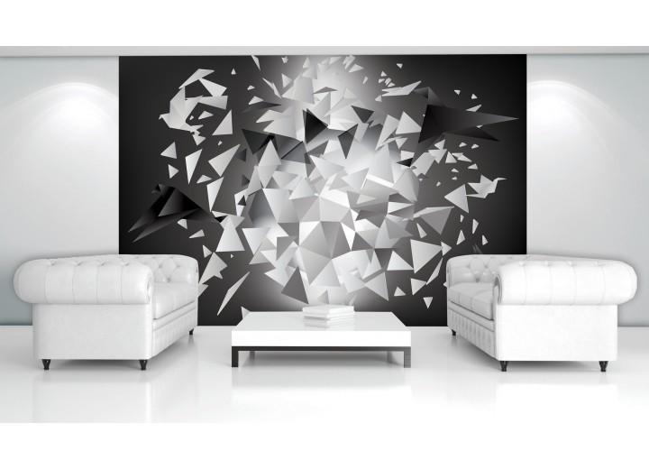 Fotobehang Vlies   3D, Origami   Grijs   368x254cm (bxh)