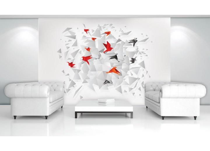 Fotobehang 3D, Origami | Rood | 312x219cm