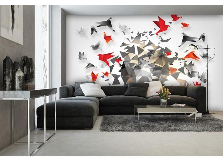 Fotobehang 3D, Origami | Grijs | 416x254