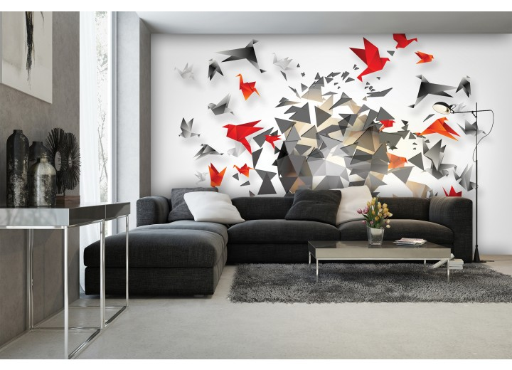 Fotobehang Vlies | 3D, Origami | Grijs | 368x254cm (bxh)