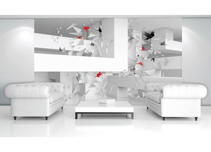 Fotobehang Papier 3D, Origami | Wit | 368x254cm