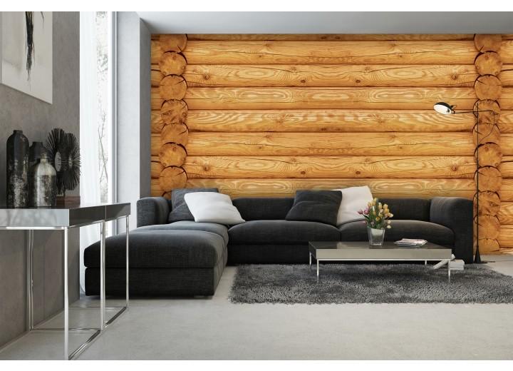 Fotobehang Hout | Bruin, Geel | 152,5x104cm