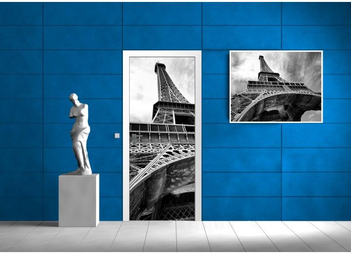 Deursticker Muursticker Eiffeltoren, Parijs   Zwart   91x211cm
