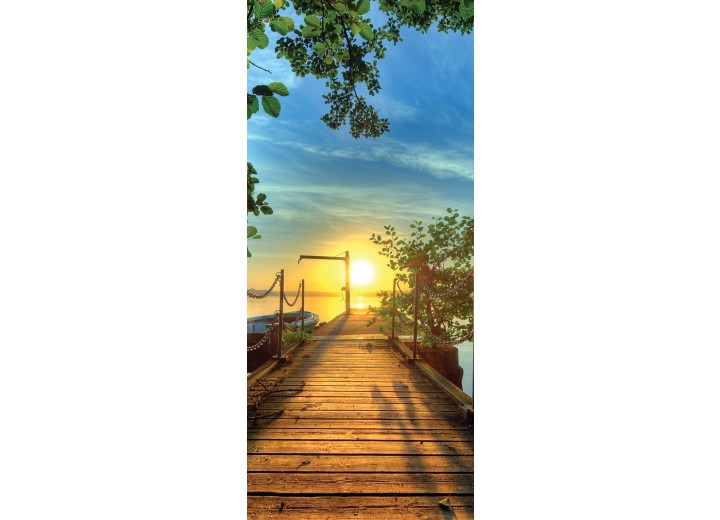 Deursticker Muursticker Zonsondergang | Geel, Blauw | 91x211cm