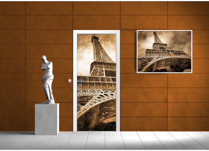 Deursticker Muursticker Eiffeltoren, Parijs | Sepia | 91x211cm