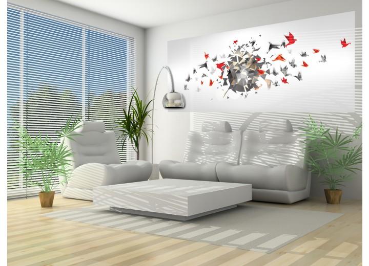 Fotobehang 3D, Design | Rood | 250x104cm