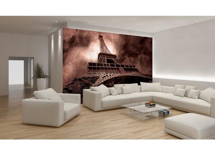 Fotobehang Papier Eiffeltoren, Parijs | Bruin | 368x254cm