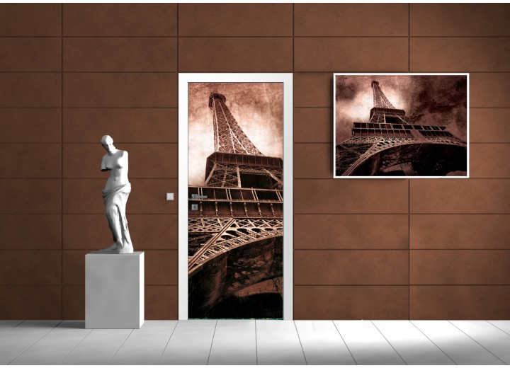 Deursticker Muursticker Eiffeltoren, Parijs | Bruin | 91x211cm