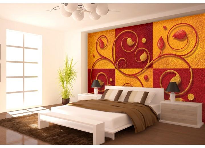 Fotobehang Papier Modern | Oranje, Rood | 368x254cm