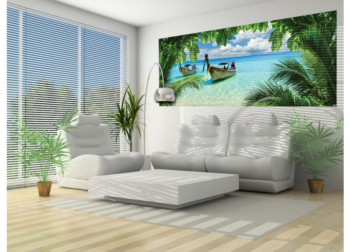 Fotobehang Strand, Zee   Groen, Blauw   250x104cm