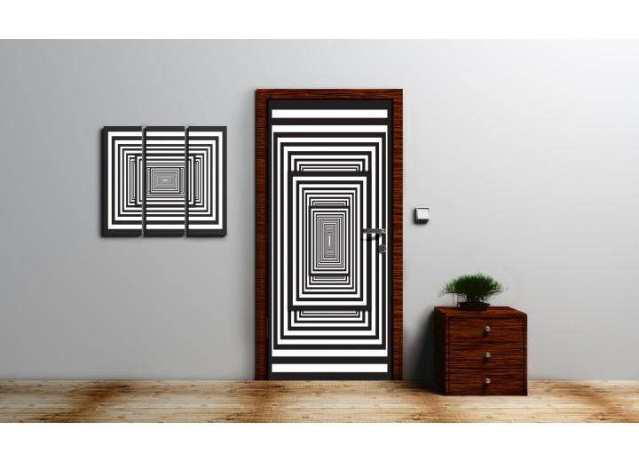 Fotobehang 3D | Zwart, Wit | 91x211cm