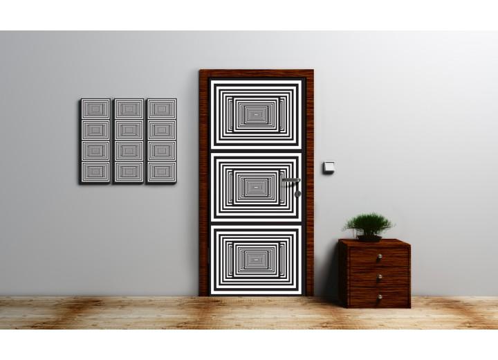 Deursticker Muursticker 3D, Design   Zwart, Wit   91x211cm