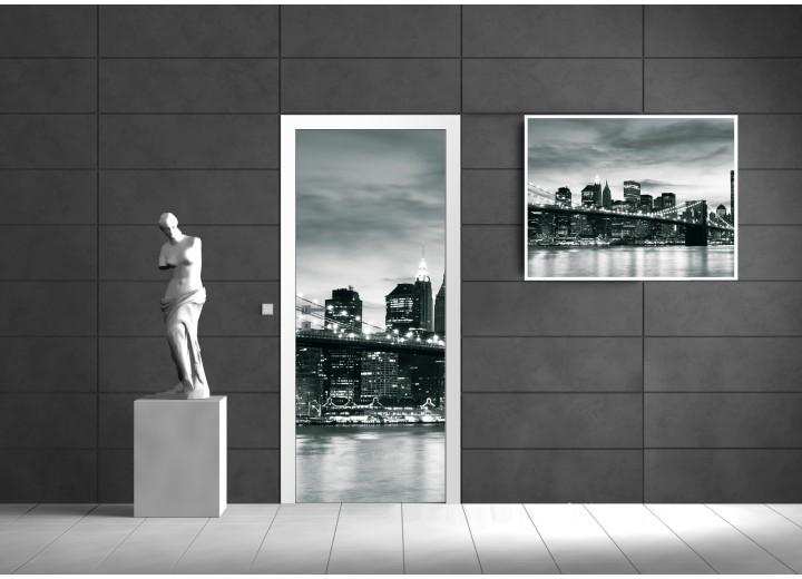 Deursticker Muursticker New York | Zwart, Wit | 91x211cm